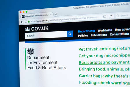 LONDON, UK - OCTOBER 30TH 2017: The homepage of the Department for Environment Food and Rural Affairs on the UK Government website, on 30th October 2017.