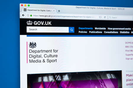 LONDON, UK - OCTOBER 30TH 2017: The homepage of the Department for Digital, Culture, Media and Sport on the UK Government website, on 30th October 2017.