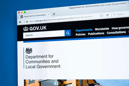LONDON, UK - OCTOBER 30TH 2017: The homepage of the Department for Communities and Local Government on the UK Government website, on 30th October 2017.