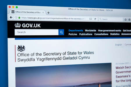 LONDON, UK - OCTOBER 30TH 2017: The homepage of the Office of the Secretary of State for Wales on the UK Government website, on 30th October 2017.