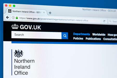 런던, 영국 -10 월 30 일 2017 : 영국 정부 웹 사이트에 북 아일랜드 사무실의 홈페이지, 2017 년 10 월 30 일에.