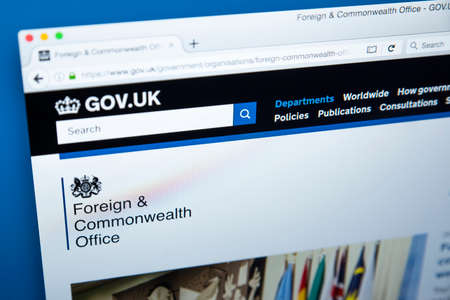 LONDON, UK - OCTOBER 30TH 2017: The homepage of the Foreign and Commonwealth Office on the UK Government website, on 30th October 2017.