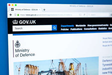 LONDON, UK - OCTOBER 30TH 2017: The homepage of the Ministry of Defence on the UK Government website, on 30th October 2017.