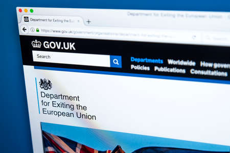 LONDON, UK - OCTOBER 30TH 2017: The homepage of the Department for Exiting the European Union on the UK Government website, on 30th October 2017.