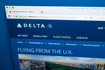 LONDON, UK - OCTOBER 21ST 2017: The homepage of the official website for Delta Airlines, the major American Air Line, on 21st October 2017. Editorial