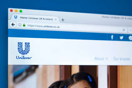 LONDON, UK - OCTOBER 17TH 2017: The homepage of the official website for Unilever - the transnational consumer goods company, on 17th October 2017.