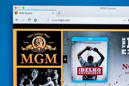 LONDON, UK - NOVEMBER 28TH 2017: The homepage of the official website for Metro Goldwyn Mayer Studios - also known as MGM Studios - the American media company, on November 28th 2017.