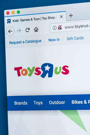 LONDON, UK - NOVEMBER 28TH 2017: The homepage of the official website for Toys R Us - the American toy products retailer, on 28th November 2017. Editorial