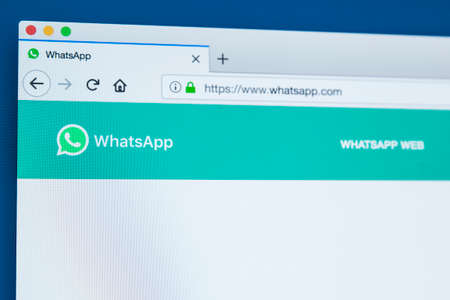 LONDON, UK - NOVEMBER 25TH 2017: The homepage of the official website for WhatsApp - the instant messaging service, on 25th November 2017. Editorial