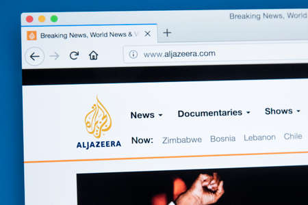 LONDON, UK - NOVEMBER 22ND 2017: The homepage of the official website for the Al Jazeera Media Network - the Middle Eastern multinational multimedia conglomerate, on 22nd November 22nd 2017.