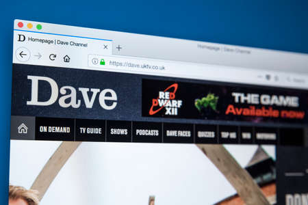 LONDON, UK - NOVEMBER 22ND 2017: The homepage of the official website for the Dave TV channel - the British television channel owned by UKTV, on 22nd November 22nd 2017.