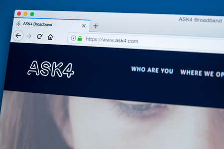 LONDON, UK - NOVEMBER 22ND 2017: The homepage of the official website for the ASK4 Broadband - the internet service provider in the UK and Europe, on 22nd November 2017.