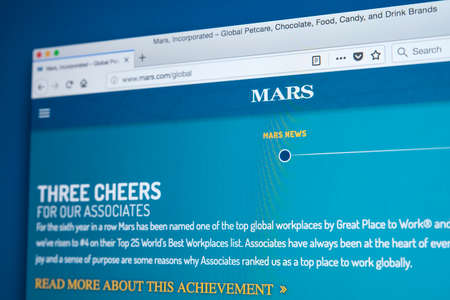 LONDON, UK - NOVEMBER 22ND 2017: The homepage of the official website for Mars, Incorporated - the American manufacturer of confectionery, pet food and other food products, on 22nd November 2017.
