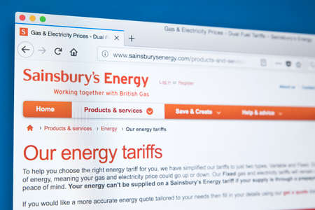 LONDON, UK - NOVEMBER 21ST 2017: The homepage of the official website for Sainsburys Energy - supplier of gas and electricity in the UK, on 21st November 2017.