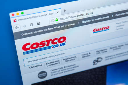 LONDON, UK - NOVEMBER 20TH 2017: The homepage of the official website for the Costco Wholesale Corporation, trading as Costco, on 20th November 2017.