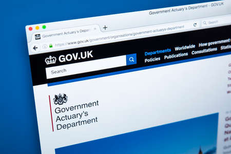 LONDON, UK - NOVEMBER 17TH 2017: The homepage of the official website for the Government Actuarys Department - the UK government department responsible for providing actuarial advice to public sector clients, on 17th November 2017.