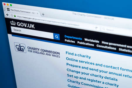 LONDON, UK - NOVEMBER 17TH 2017: The homepage of the official website for the Charity Commission for England and Wales, on 17th November 2017.