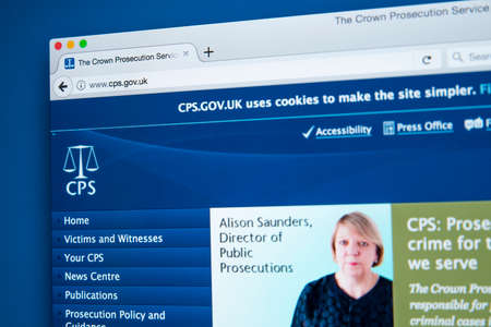 LONDON, UK - NOVEMBER 17TH 2017: The homepage of the official website for the Crown Prosecution Service - the principal prosecuting agency for conducting criminal prosecutions in England and Wales, on 17th November 2017.