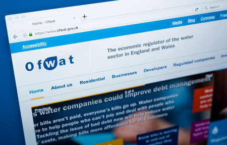 LONDON, UK - NOVEMBER 17TH 2017: The homepage of the official website for the Water Services Regulation Authority, also known as Ofwat, on 17th November 2017.