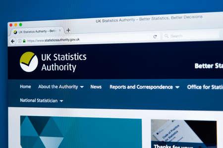 런던, 영국 -11 월 17 일 2017 : 2017 년 11 월 17 일에 영국 통계 당국 공식 웹 사이트의 홈페이지.