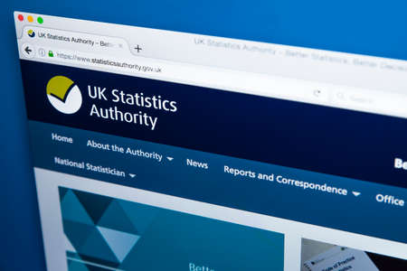 LONDON, UK - NOVEMBER 17TH 2017: The homepage of the official website for the UK Statistics Authority, on 17th November 2017.