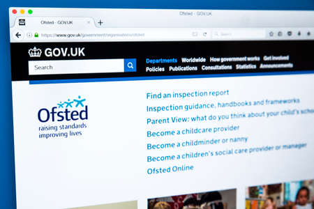 LONDON, UK - NOVEMBER 17TH 2017: The homepage of the official website for the Office for Standards in Education, Childrens Services and Skills - the non-ministerial UK government department, on 17th November 2017.