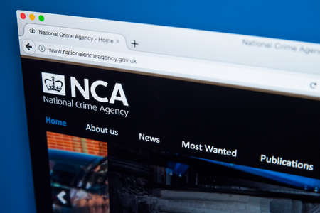 LONDON, UK - NOVEMBER 17TH 2017: The homepage of the official website for the National Crime Agency - the national law enforcement agency in the UK, on 17th November 2017.