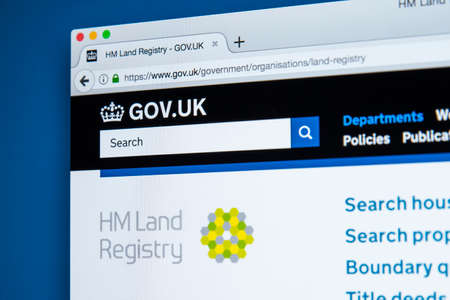 LONDON, UK - NOVEMBER 17TH 2017: The homepage of the official website for Her Majestys Land Registry - the non-ministerial UK government department, on 17th November 2017.