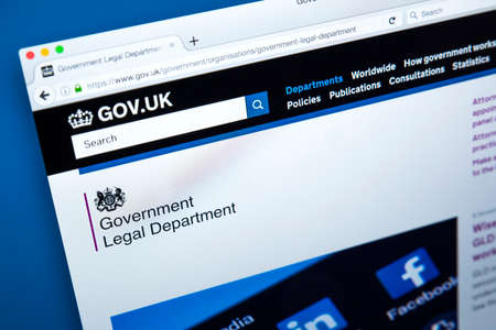 LONDON, UK - NOVEMBER 17TH 2017: The homepage of the official website for the Government Legal Department, on 17th November 2017.
