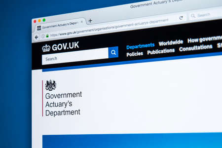 LONDON, UK - NOVEMBER 17TH 2017: The homepage of the official website for the Government Actuarys Department - the UK government department responsible for providing actuarial advice to public sector