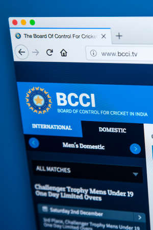 LONDON, UK - DECEMBER 4TH 2017: The homepage of the official website for the Board of control for Cricket in India - the national governing body for cricket in India, on 4th December 2017.