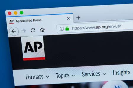 Londres, Royaume-Uni - 4 décembre 2017: la page d'accueil du site officiel de l'agence de presse multinationale américaine Associated Press, le 4 décembre 2017.