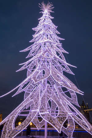 A beautiful Christmas Tree located along the South Bank of the River Thames, in central London, UK. Editorial