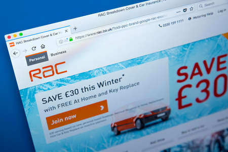 LONDON, UK – DECEMBER 14TH 2017: The homepage of the official website for RAC Limited – the British automotive services company offering roadside assistance and general insurance, on 14th December 2017.