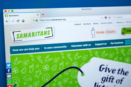 LONDON, UK – DECEMBER 14TH 2017: The homepage of the official website for the Samaritans – the registered charity aimed at providing emotional support to anyone in emotional distress or at risk of suicide, on 14th December 2017. Editöryel