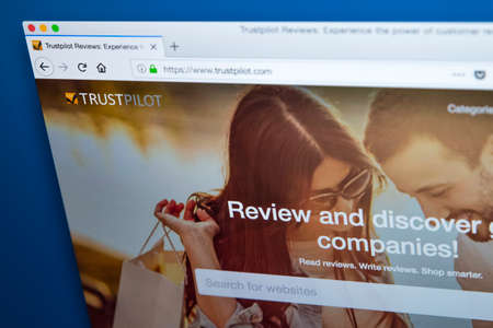 LONDON, UK – DECEMBER 14TH 2017: The homepage of the official website for the Trustpilot – the review-publishing website for online businesses, on 14th December 2017. Editorial