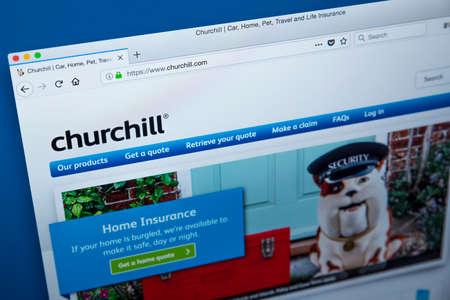 LONDON, UK – DECEMBER 14TH 2017: The homepage of the official website for Churchill Insurance – the UK insurance company, on 14th December 2017. Editoriali
