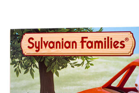 LONDON, UK - DECEMBER 18TH 2017: A close-up of the Sylvanian Families logo on the packaging of one of its products, on 18th December 2017.  The brand was created by the Japanese gaming company Epoch in 1985.