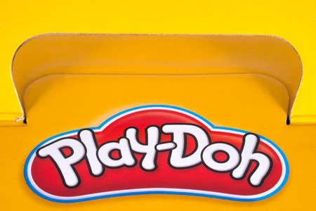 LONDON, UK - DECEMBER 18TH 2017: A close-up of the Play-Doh logo on the packaging of one of its products, on 18th December 2017.  The product is owned and manufactured by Hasbro.