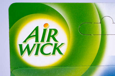 LONDON, UK - DECEMBER 18TH 2017: A close-up of the logo for Air Wick - the American air freshener brand produced by Reckitt Benckiser, on 18th December 2017.