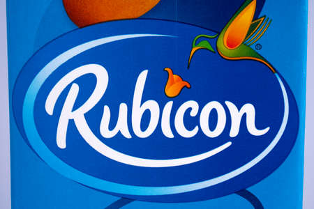 LONDON, UK - DECEMBER 18TH 2017: A close-up of the logo for Rubicon - the UK soft drink manufacturer, on 18th December 2017. Editorial