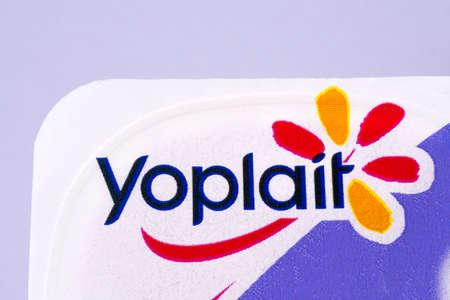 LONDON, UK - DECEMBER 18TH 2017: A close-up of the Yoplait logo, on 18th December 2017.  Yoplait is the largest franchise brand of yoghurt owned by both US-based General Mills and French dairy cooperative Sodiaal.