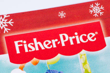 LONDON, UK - DECEMBER 18TH 2017: The Fisher Price logo printed in a Tesco toys catalogue, on 18th December 2017.  Fisher Price is a US company that produces educational toys for children. Editorial