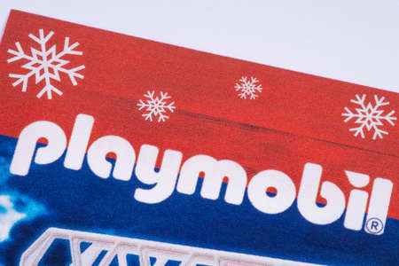 LONDON, UK - DECEMBER 18TH 2017: The Playmobil logo printed in a Tesco toys catalogue, on 18th December 2017.  Playmobil is a brand of toys produced by the Brandstatter Group. Redakční