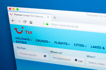 LONDON, UK - JANUARY 4TH 2018: The homepage of the official website for TUI, formerly known as Thomson Holidays - the UK based travel operator, on 4th January 2018.
