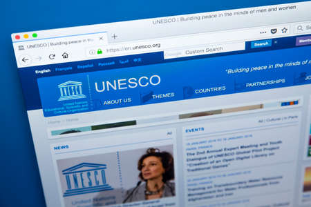 LONDON, UK - JANUARY 4TH 2018: The homepage of the official website for the United Nations Educational, Scientific and Cultural Organization, commonly known as UNESCO, on 4th January 2018. 新聞圖片