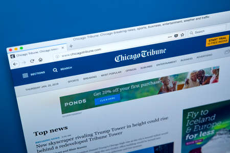 LONDON, UK - JANUARY 25TH 2018: The homepage of the official website for the Chicago Tribune, on 25th January 2018.  The daily newspaper based in Chicago, Illinois and founded in 1847.