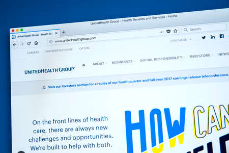 LONDON, UK - JANUARY 25TH 2018: The homepage of the official website for the UnitedHealth Group - the American health care company, on 25th January 2018. Editorial