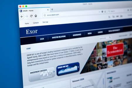 LONDON, UK - JANUARY 25TH 2018: The homepage of the official website for Exor N.V. - the Italian leading investment company, on 25th January 2018.