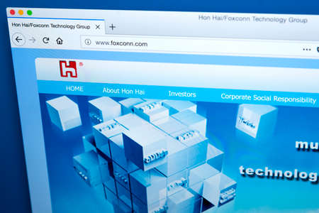 LONDON, UK - JANUARY 25TH 2018: The homepage of the official website for Hon Hai Precision Industry Co Ltd, trading as Foxconn Technology - the electronics contract manufacturing company, on 25th January 2018.